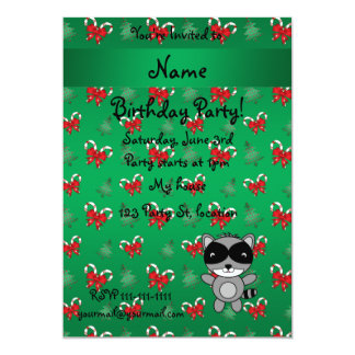 Personalized name raccoon green candy canes bows invitations