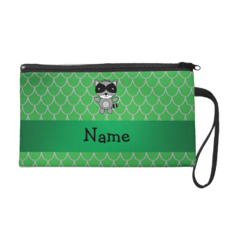 Personalized name raccoon green dragon scales wristlet clutch