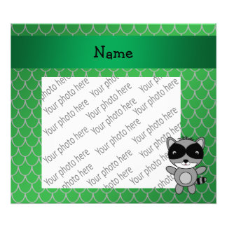 Personalized name raccoon green dragon scales art photo