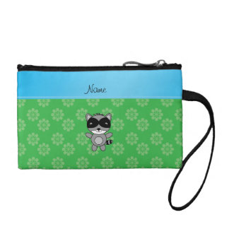 Personalized name raccoon green flowers coin purses