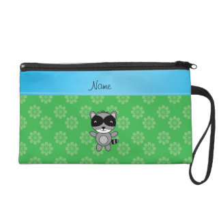 Personalized name raccoon green flowers wristlet