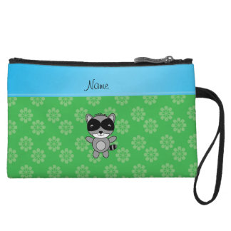 Personalized name raccoon green flowers wristlet clutches
