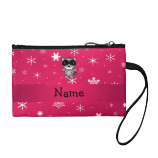 Personalized name raccoon pink snowflakes change purses