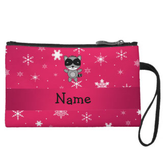 Personalized name raccoon pink snowflakes wristlet purse