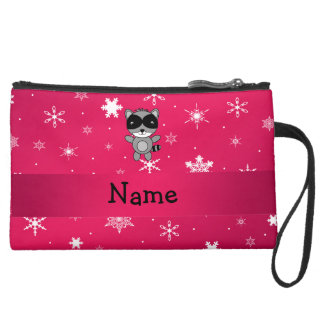 Personalized name raccoon pink snowflakes wristlet purses