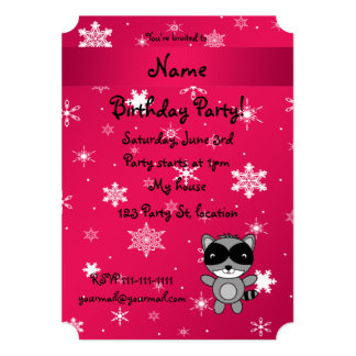 Personalized name raccoon pink snowflakes card