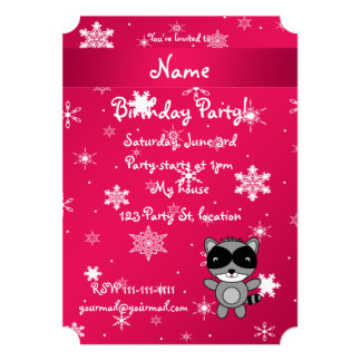 Personalized name raccoon pink snowflakes cards
