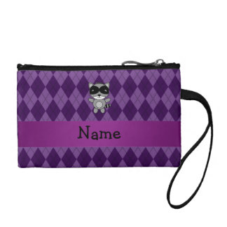 Personalized name raccoon purple argyle coin purse