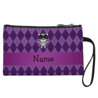 Personalized name raccoon purple argyle wristlet clutch