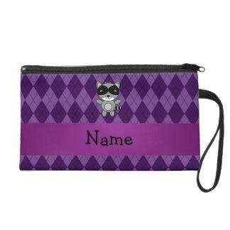 Personalized name raccoon purple argyle wristlet clutches