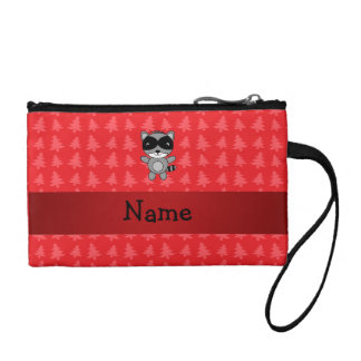 Personalized name raccoon red christmas trees coin wallet