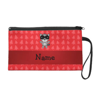 Personalized name raccoon red christmas trees wristlet purses
