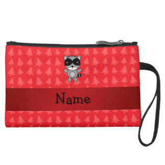 Personalized name raccoon red christmas trees wristlet clutches