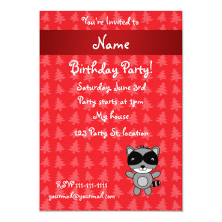Personalized name raccoon red christmas trees custom invitation