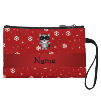 Personalized name raccoon red snowflakes wristlet clutches
