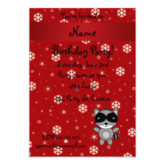 Personalized name raccoon red snowflakes custom invitation