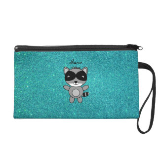Personalized name raccoon turquoise glitter wristlet purses