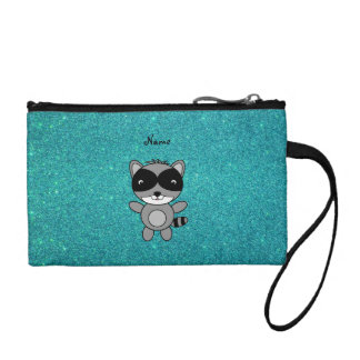 Personalized name raccoon turquoise glitter coin purse