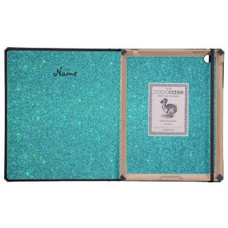 Personalized name raccoon turquoise glitter iPad folio cases