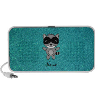 Personalized name raccoon turquoise glitter laptop speaker