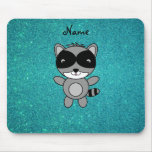 Personalized name raccoon turquoise glitter mouse pad