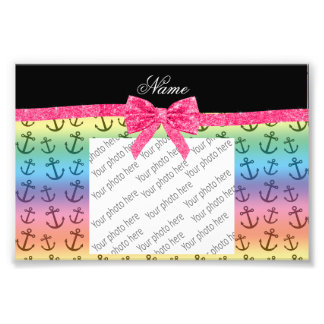 Personalized name rainbow anchors glitter bow photo art