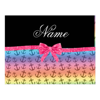 Personalized name rainbow anchors glitter bow postcards