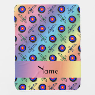Personalized name rainbow archery swaddle blanket