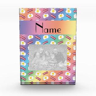 Personalized name rainbow bacon eggs award