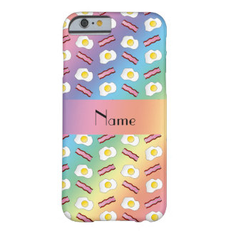 Personalized name rainbow bacon eggs barely there iPhone 6 case