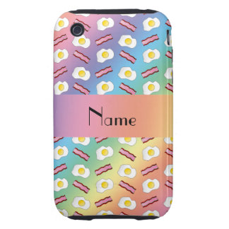 Personalized name rainbow bacon eggs tough iPhone 3 cover