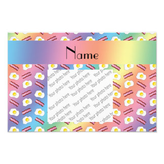Personalized name rainbow bacon eggs photographic print