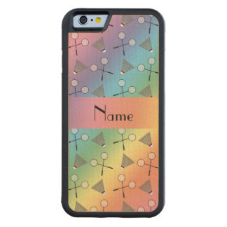 Personalized name rainbow badminton carved® maple iPhone 6 bumper case