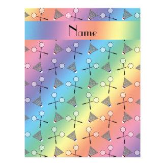 Personalized name rainbow badminton pattern letterhead