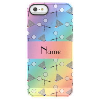 Personalized name rainbow badminton uncommon permafrost® deflector iPhone 5 case