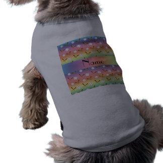 Personalized name rainbow baseball dog t-shirt