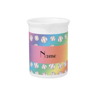 Personalized name rainbow baseballs pattern pitcher