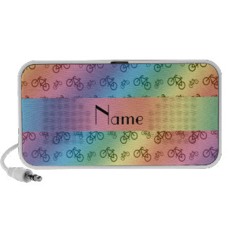 Personalized name rainbow bicycle pattern mp3 speakers