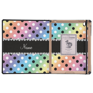 Personalized name rainbow black white polka dots case for iPad