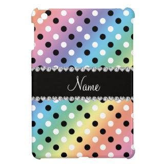 Personalized name rainbow black white polka dots iPad mini case