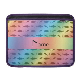 Personalized name rainbow bluefin tuna pattern MacBook sleeves