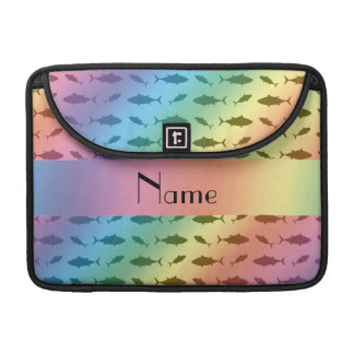 Personalized name rainbow bluefin tuna pattern sleeves for MacBook pro