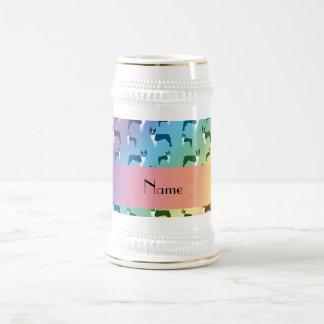 Personalized name rainbow boston terrier coffee mug