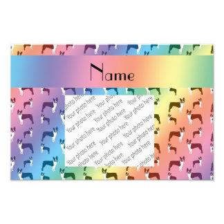 Personalized name rainbow boston terrier photo print