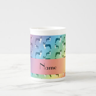 Personalized name rainbow boston terrier tea cup