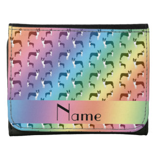 Personalized name rainbow boston terrier leather tri-fold wallet