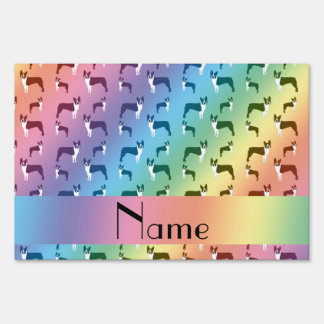 Personalized name rainbow boston terrier yard sign