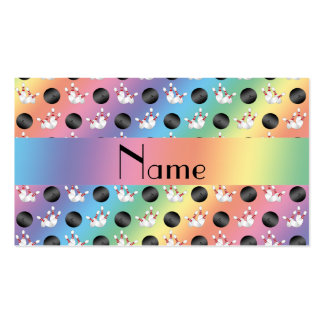 Personalized name rainbow bowling pattern business cards
