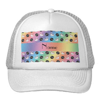 Personalized name rainbow bowling pattern trucker hat