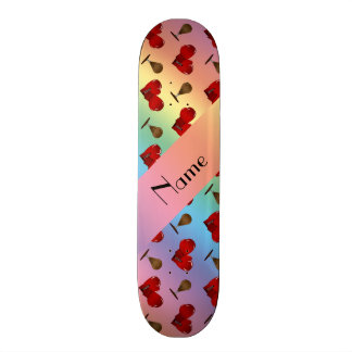 Personalized name rainbow boxing pattern skateboard decks